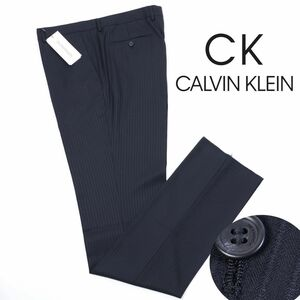 y764 新品 3.5万 CK CALVIN KLEIN カルバン・クライン ミニスター ウール ドビーストライプ パンツ スラックス ブラック 38(w96)