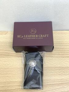 H 未使用保管品 KC's ケイシイズ レザー ハンギング キーケース 黒 ALL HAND MADE IN JAPAN 箱付き