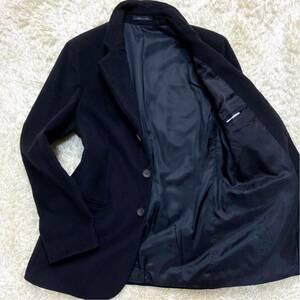 最高級《MR A LINE》エンポリオアルマーニ『上品さと高級感』EMPORIO ARMANI テーラードジャケット 46 M位 肌触り◎タオル地 ブラック 黒