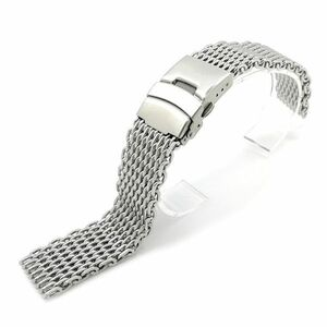 送料無料!! 腕時計 交換用 ベルト 18mm シャーク メッシュ ブレス ダブルロック ステンレス 金属 時計 バンド シルバー