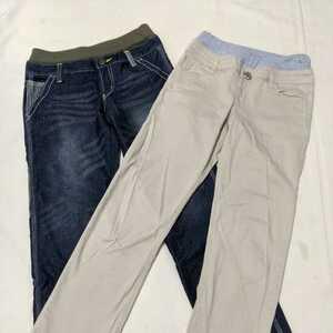 #WY11 子供服 福袋 140 2点 セット まとめ 男の子 男子 パンツ ズボン ウェストゴム 紺 ネイビー ベージュ MPS ライトオン