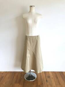 MARGARET HOWELL/マーガレットハウエル/MHL./スカート/ボトムス/ロングスカート/3/M-L/ベージュ/フレア/コットン/日本製