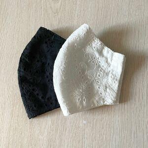 立体インナー ペイズリー ダブルガーゼ 白黒 綿レース