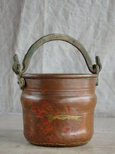 フランスアンティーク ポット ジャルディニエール 銅製 花器 フラワーポット 蚤の市 ブロカント 持ち手付き