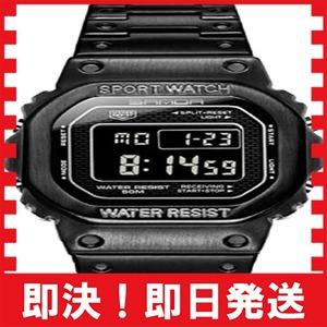 ブラック Un bel tocco デジタル腕時計 フルメタル メンズ スポーツウォッチ 50メートル防水 LEDバックライト付