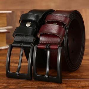 2本セット イタリアンレザー ベルト 牛革 本革 フリーサイズ カジュアル メンズ ベルト 男性 紳士 ブラック ブラウン 送料無料 B