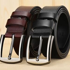 2本セット イタリアンレザー ベルト 牛革 本革 フリーサイズ カジュアル メンズ ベルト 男性 紳士 ブラック ブラウン 送料無料 S2