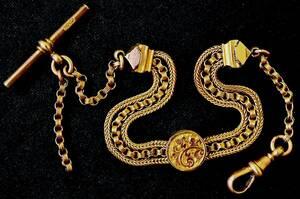 產品詳細資料,日本Yahoo代標|日本代購|日本批發-ibuy99|1880年 英国 TH製 刻印 アルバティーナチェーン 全オリジ美品 rゴールド金 懐中時計ブレス…