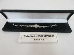 ny006★MASALLE マサール レディース 高級腕時計 オパール蝶ブレス 取扱説明書付き ジャンク