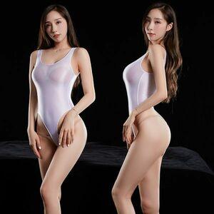 最新作 超肌触りの良い 上質 光沢 スベスベ競泳水着 ハイレグレオタード レースクイーン 超sexy ストレッチ コスプレ 白色