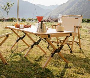 CHANODUG OUTDOOR ウッドロールテーブル Lサイズ 収納ケース付 アウトドアテーブル キャンプテーブル 送料無料