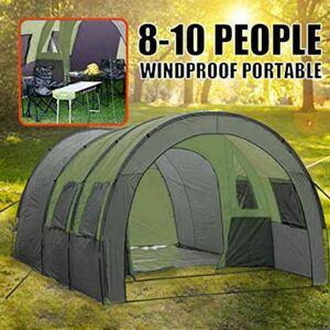 トンネルテント カマボコテント 3ルームテント 大型テント 6人から8人就寝可能 一体型テント ファミリーテント 大人数テント