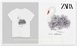 新品【ZARAザラ】シフォンフラワーペタル スワンプリント半袖Tシャツ カットソー 140cm (130 120) スカート パンツ ワンピ キュロット