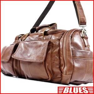 即決★N.B.★オールレザーボストンバッグ メンズ 茶 本革 トラベル 本皮 かばん 出張 カバン 旅行 ショルダーバッグ 鞄 2way
