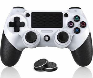 PS4 ワイヤレスコントローラー PS4コントローラー 互換品 ホワイト コントローラー