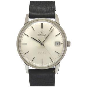 オメガ ジェネーブ 自動巻き 腕時計 アンティーク SS/レザー シルバー文字盤 0057 OMEGA メンズ