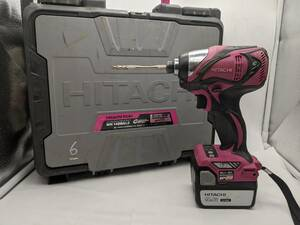 G-5-10-55 日立 14.4V インパクトドライバ WH14DBAL2 ピンク 電池2本、充電器、説明書付き 簡易確認済み現状品