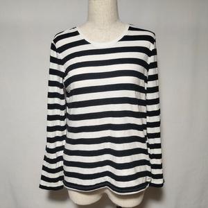 無印良品 カットソー Tシャツ ロンT ボーダー 柄 長袖 L 白 ホワイト 黒 ブラック レディース /U