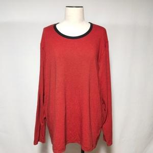 トップバリュ TOPVALU Tシャツ ロンT カットソー ボーダー 柄 長袖 3L 赤 レッド レディース /U