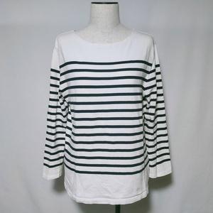 Tシャツ ロンT カットソー ボーダー 柄 ワイドシルエット 長袖 M 白 ホワイト 黒 ブラック レディース /V