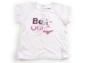 べべ BeBe Tシャツ・カットソー 100 女の子 白・ピンク・紫・アルファベット・蝶 子供服 ベビー服 キッズ(803290)