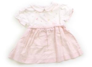 ファミリア familiar ワンピース 70 女の子 白地・薄ピンクストライプ 子供服 ベビー服 キッズ(806443)