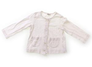 コンビミニ Combimini カーディガン 80 女の子 白・レース・花型ボタン 子供服 ベビー服 キッズ(811628)