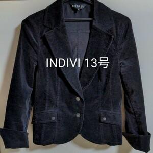 【INDIVI】テーラード黒ベロアジャケット