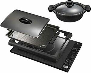 ブラック パナソニック IHホットプレート 専用鍋付き 7段階火力調整 焼肉 ホットケーキ クレープ お好み焼きブラック KZ-