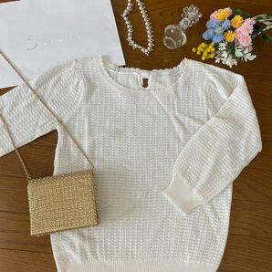 【未着用】オンワード ONWARD 七分袖セーター 白 リボン