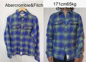【メンズ】Abercrombie&Fitchヘビーネルシャツ/USA老舗アバクロ綺麗カラーM