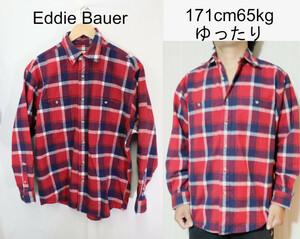 【メンズ】エディーバウアーレッドチェックネルシャツ/USA古着アウトドア老舗良品S
