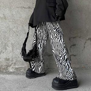 ワイドパンツ ゼブラ 総柄 イージーパンツ ボトムス ワイドレッグパンツ アニマル柄 レディース メンズ 原宿系 白 黒 パンツ