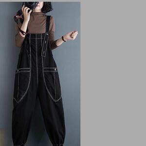 サロペット オーバーオール オールインワン ボトムス パンツ マタニティ サルエルパンツ 体型カバー L 黒 ブラック