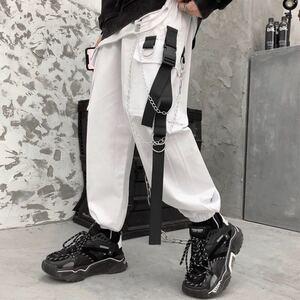ジョガーパンツ テーパードパンツ チェーン ストリート カーゴパンツ ワークパンツ メンズ レディース M L XL 白 ホワイト