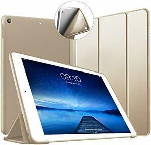 ゴールド iPad 10.2 ケース 第7世代 ソフトカバー オートスリープ機能 PUレザーカバー 三つ折りスタンド スタンド機