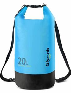 防水バッグ 防災バッグ 大容量 20L アウトドア用 水泳 海 温泉 キャンプ ビーチ お釣り防水ケース付き青色