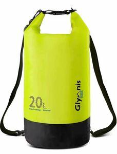 防水バッグ 防災バッグ 大容量 20L アウトドア用 水泳 海 温泉 キャンプ ビーチ お釣り防水ケース付き黄色