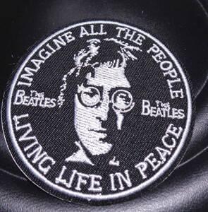 黒白(円型)◎新品 ジョン・レノンJohn Lennon ビートルズThe Beatles 刺繍ワッペン(パッチ)■UKイギリス USアメリカ ◇激シブ