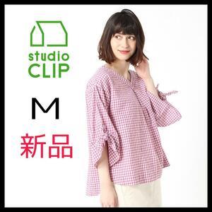 studioCLIP スタディオクリップ ブラウス ギンガムチェック ピンク M