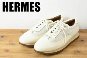 A6280 高級 HERMES エルメス クイック シューズ スニーカー 革靴 カジュアル 厚底 シャークソール メンズ レザー ホワイト系 イタリア 43