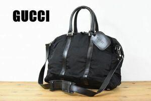CF0052 高級 GUCCI グッチ メンズ ナイロン レザー 2WAY トートバッグ ハンドバッグ ミニ ボストンバッグ ブラック 金具 黒 ロゴ