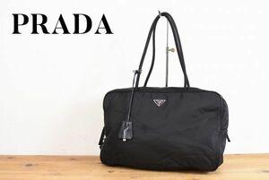 SS A0198 高級 PRADA プラダ テスートナイロン ロゴ プレート チャーム セミショルダー トート ハンドバッグ ボディー 鞄 黒 シルバー