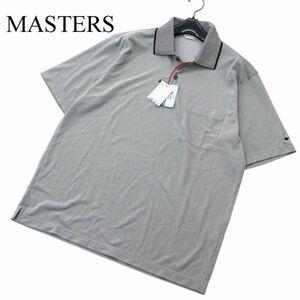 【新品 未使用】 MASTERS マスターズ 吸汗速乾★ 襟ストライプ 半袖 ポロシャツ Sz.L メンズ グレー 日本製 ゴルフ A1T06730_6#A