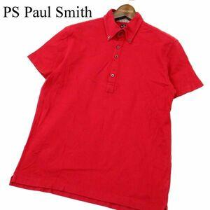 PS Paul Smith ポールスミス 春夏 半袖 ボタンダウン★ ポロシャツ Sz.M メンズ 赤 日本製 A1T05364_5#A