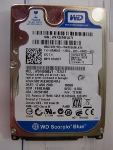 Western Digital WD1600BEVS 160GB SATA 5400rpm ハードディスク 2.5インチ 動作確認済