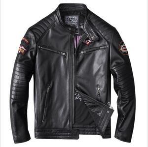 カウハイド 牛革 レザージャケット 革ジャン ライダース バイクジャケット メンズファッション 刺繍 本革 アメカジ S~4XL