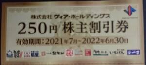 ヴィアホールディングス★株主割引券2500円分★やきとりの扇屋★2022年6月末まで
