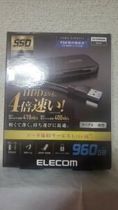 エレコム 外付けSSD 未開封品 usb 3.2 スリムサイズ ケーブル一体型 ps4
