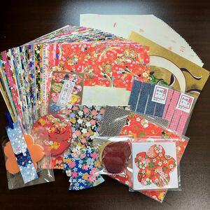 友禅和紙87枚 和紙小物14点 大量セット ガマ口財布付 ハンドメイド素材